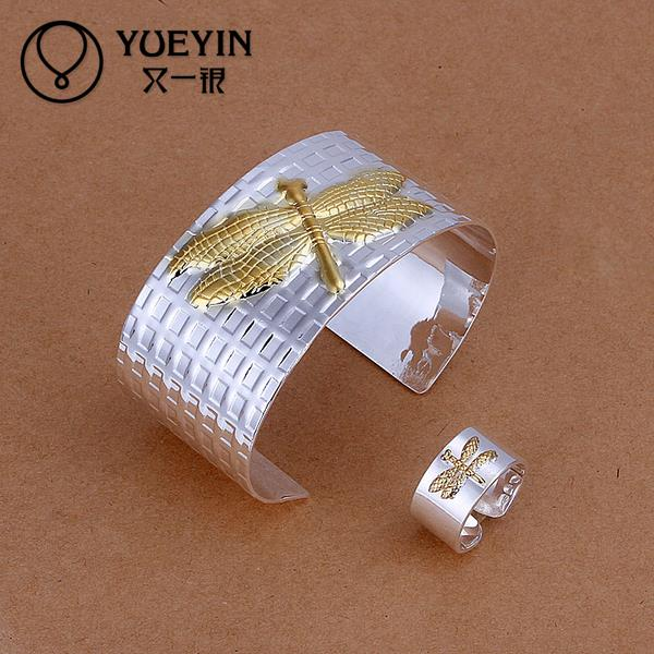 Fine Filled Gift Women's Fine Ms. UA style Pulseras 2pcs 925 silver bracelet ring jewelry party trend bridal jewelry