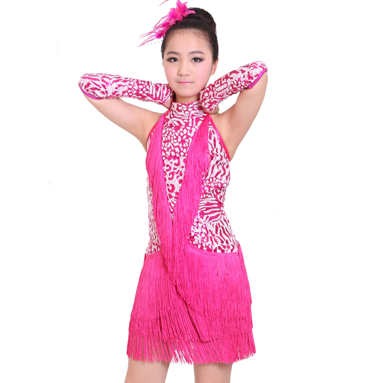 Picture of Blue/Red/Black/Pink Tassel Sequins Children #39;S Latin Dance Clothing For Girls Tango/Samba/Rumba Dance Practice/Performance Show