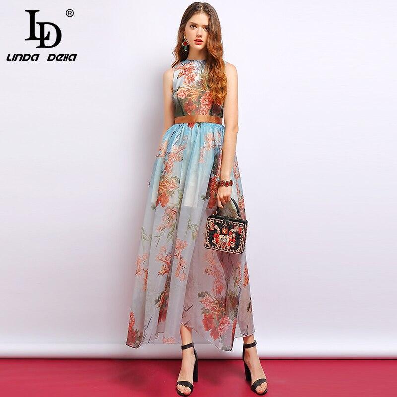 LD LINDA DELLA Fashion Summer Dress Women s Sleeveless Side slit Mesh Overlay Floral Printed Elegant