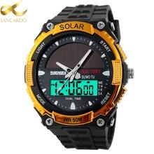 LANCARDO Men Solar Power Sports Watches Stopwatch Quartz Digital Watch Alarm Dual Time Zones Relogios Masculinos