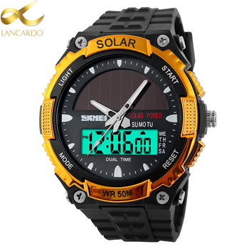 цена на LANCARDO Men Solar Power Sports Watches Stopwatch Quartz Digital Watch Alarm Stopwatch Dual Time Zones Relogios Masculinos
