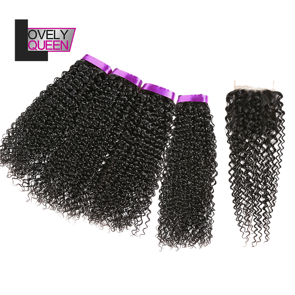 Lovely Queen Human Hair Peruvian Curly Hair 4 Bundles With Closure 100% Real Human Non Remy Grade For Black Women