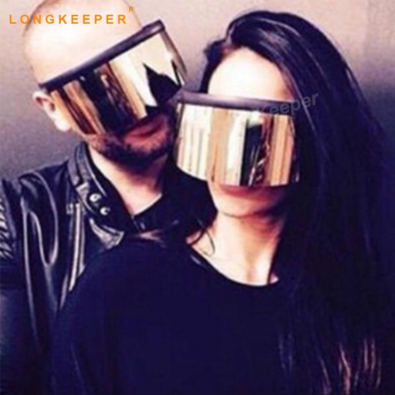 2018 New Fashion Ladies Oversized Square Shield Sunglasses Women Vintage Brand Designer Glass Gradient Big Frame LongKeeper