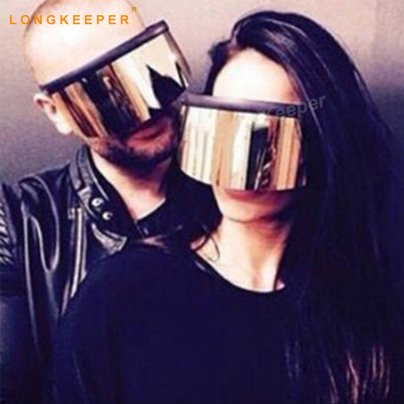 742df63403 2018 nuevas gafas de sol con escudo cuadrado de gran tamaño para damas de  marca Vintage de diseñador de vidrio gradiente de gran marco LongKeeper