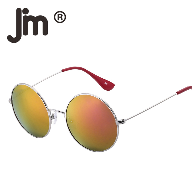 229439042fa2 JM Vintage Round Metal Frame Flash Mirror Reflective Circle Lens UV400  Steampunk Sunglasses Women Men Sun Glasses Retro Eyewear