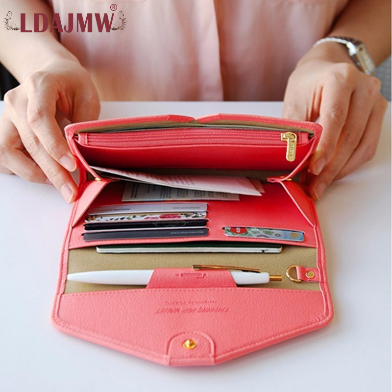 LDAJMW Multi-function Large Capacity Women Wallets Card Holder Wallet Leather Travel Passport Cover Cellphone Pocket Coin Purse цена 2017
