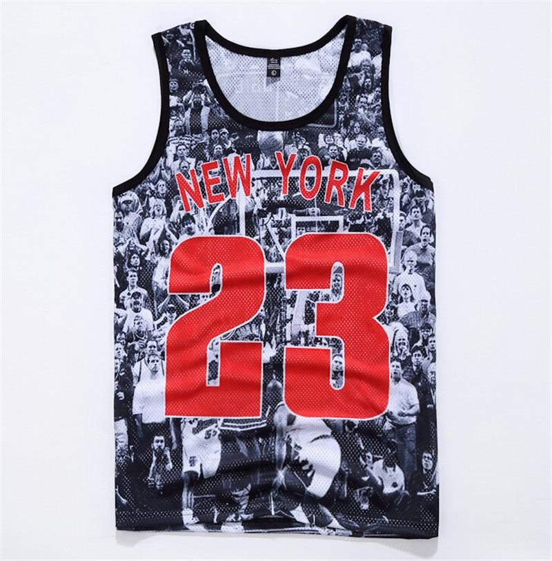 521a0d9e423a7 tank tops 3D print NEW YORK Jordan 23 vest sleeveless tee shirts summer  style clothing plus