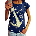 Feitong Fashion 2015 Women's Summer Style T Shirts Letter Print Anchor Slim Cotton Casual Shirts Tops Free Shipping
