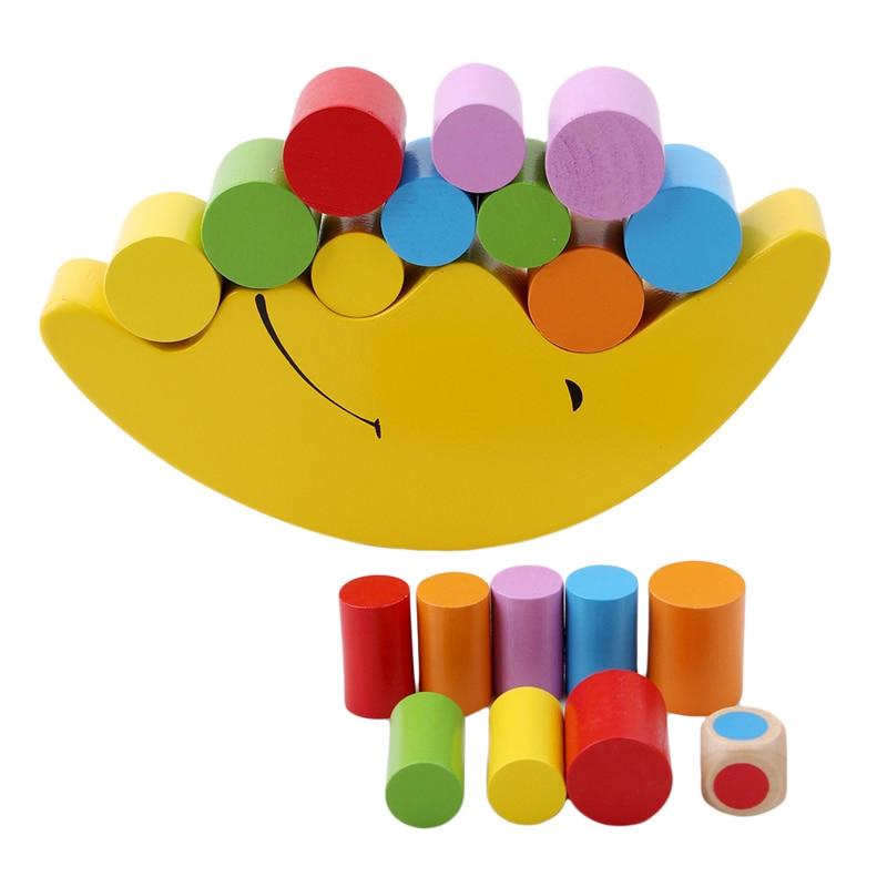Деревянные детские кубики Монтессори, развивающая рама для балансировки Луны, Развивающие Игрушки для раннего развития