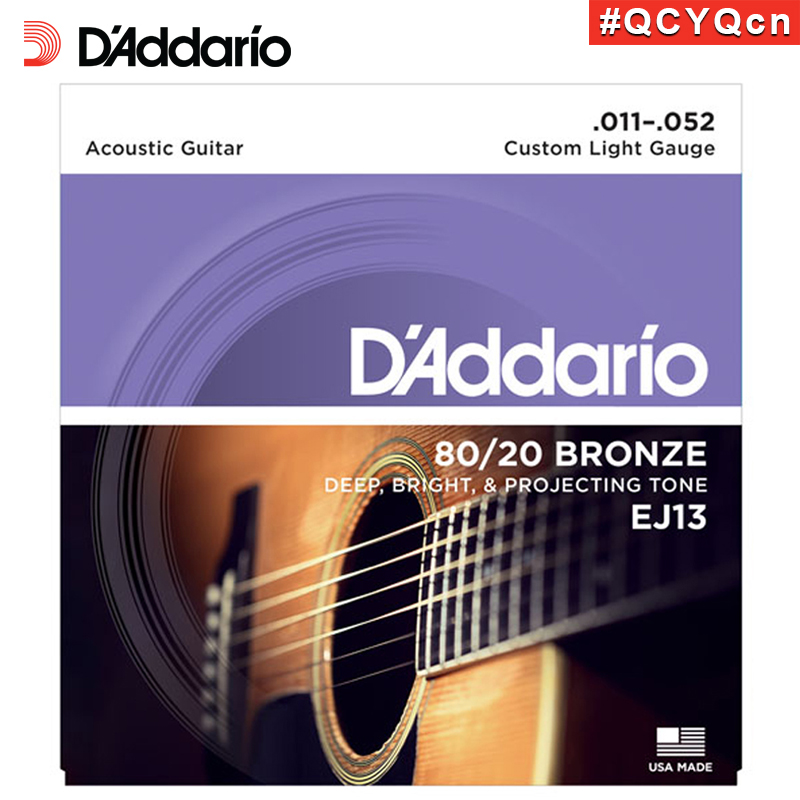 DAddario Daddario EJ13 American Made 80/20 Bronze Acoustic Guitar Strings, Custom Light, 11-52