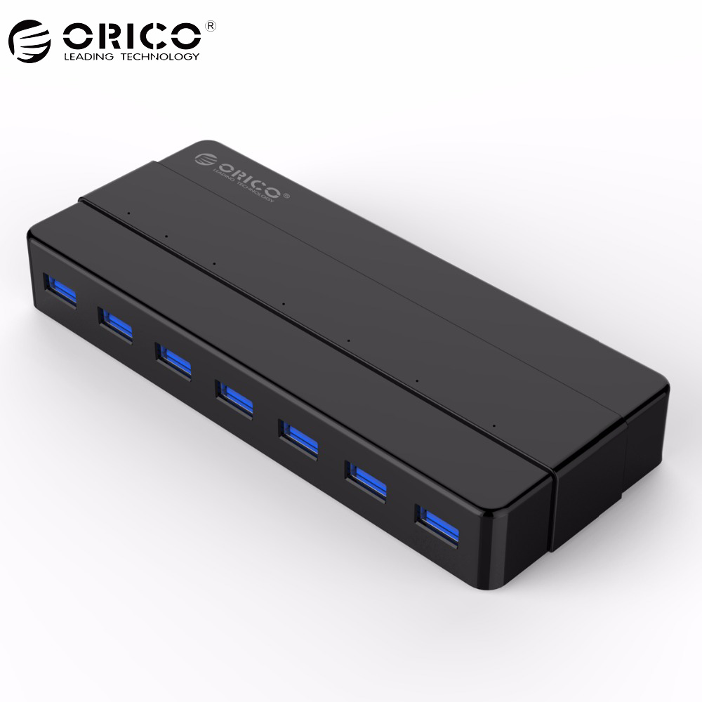 ORICO 7 Port USB3.0 Desktop HUB 5 Gbps SuperSpeed with 12V2.5A Power Adapter VIA controller 3.3Ft / 1M Data Cable
