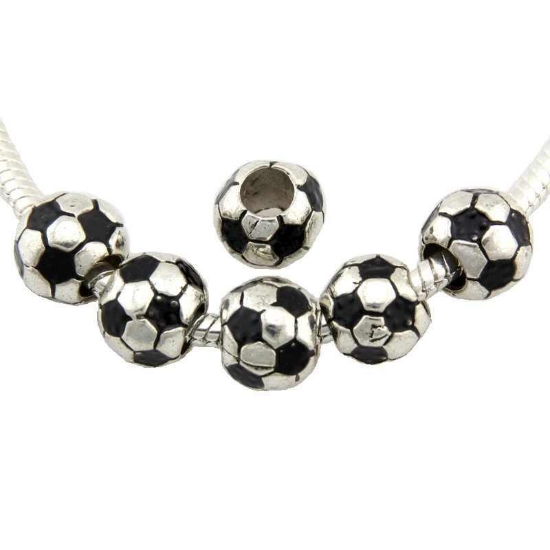 20pcs Dark Silver Tone Black Soccer Ball Beads Fit European Charm Bracelet Jewelry Findings DIY Wholesale E37