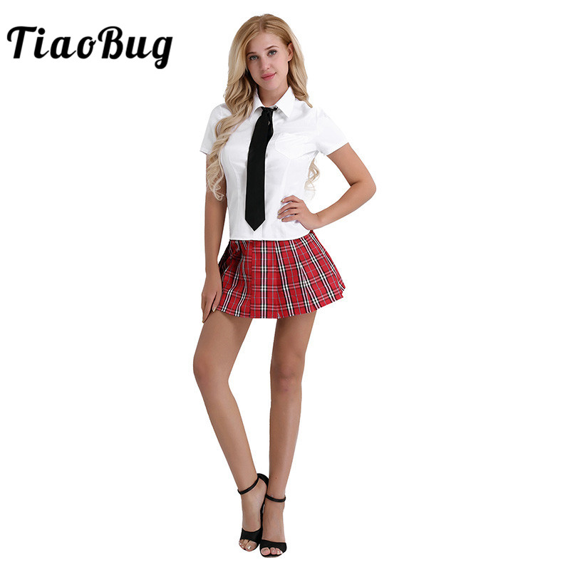 TiaoBug 3Pcs Women Japanese Student School Uniform Suit White Korea Girls Shirt With Red Skirt And Tie Set Cosplay Sexy Costumes
