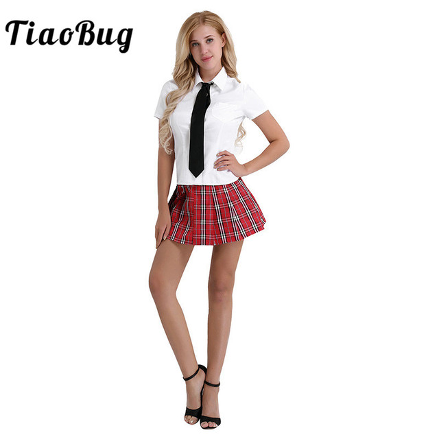 a280a71605a US $11.49 30% OFF|TiaoBug 3Pcs Women Japanese Student School Uniform Suit  White Korea Girls Shirt with Red Skirt and Tie Set Cosplay Sexy Costumes-in  ...