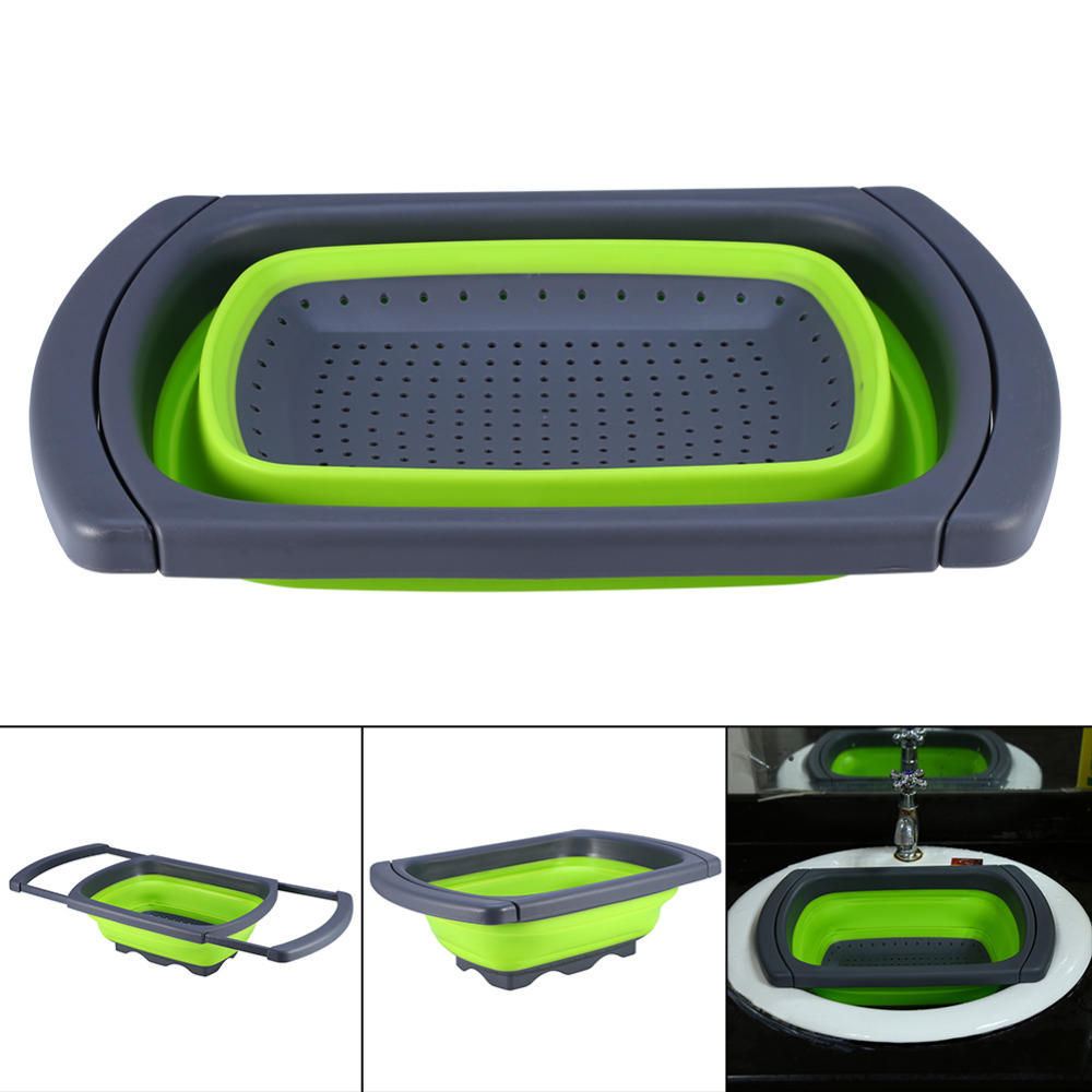 Kitchen Collapsible Silicone Colander Strainer Expands to 24 Over the Sink Basket Cooking Water Drainage