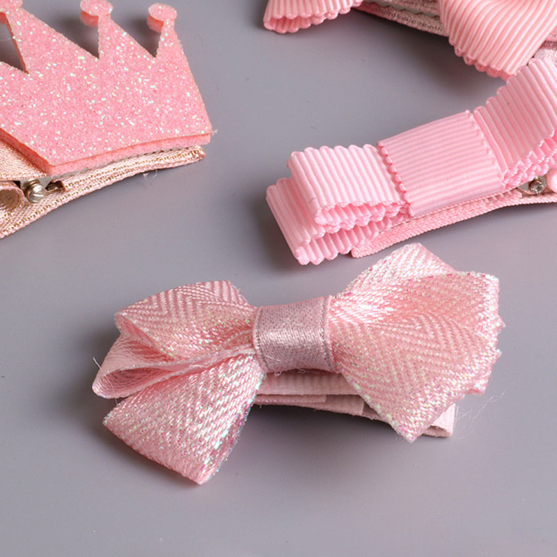 BalleenShiny 5Pcs/set Baby Girls Hair Clip Kids Bowknot Flower Hairpine Children Rabbit Ears Princesses Headwear Accessories