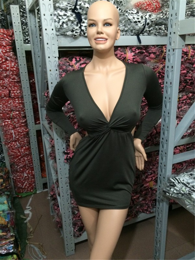 55544f743760 Sexy Night Club Fashion Dresses With Cleavage Woman Hollow Out Halter Long  Sleeved V neck Slim Chest Wrapped Mini Dress NQ0087-in Dresses from Women's  ...