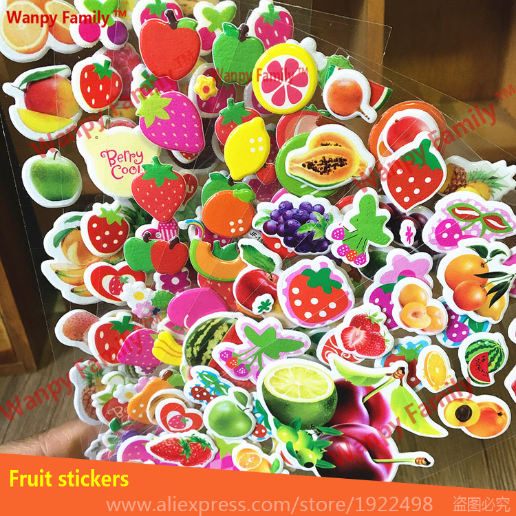 6 sheets set Vegetable fruit stickers Very nice fruit stickers For Children 39 s early education toys in Wall Stickers from Home amp Garden