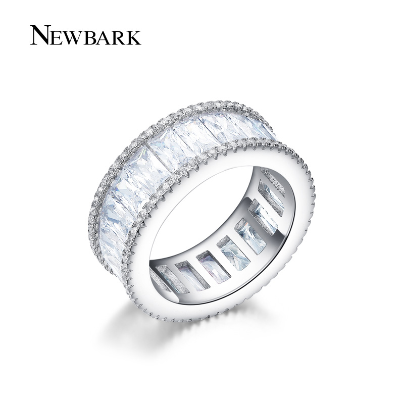 NEWBARK Channel Ring Minimalist Rings For Women Silver Color Tiny CZ Anillos Mujer Women Jewelry Bijoux
