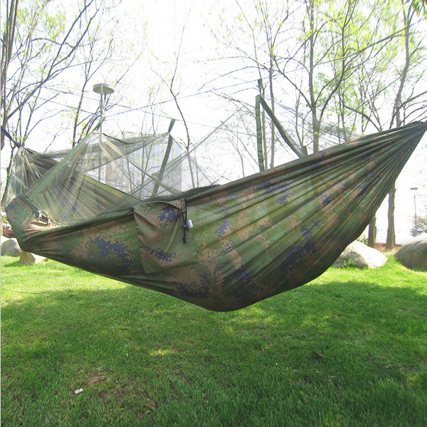 240*120cm Portable camouflage 2 people with mosquito net outdoor camping survival Parachute nylon Thicken Double swings hammock