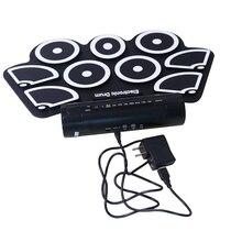 Эльсой Силиконовый складной стойки, портативный USB электронный барабан, двойным Рогом, электрический барабан, джаз барабан ударный инструмент