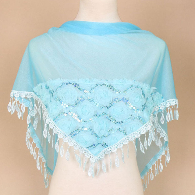 Women Triangle Scarf Lace...