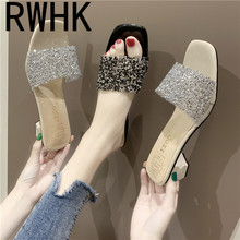 RWHK Slippers women wear 2019 summer new sequins thick with womens shoes high-heeled fashion wild word drag B184