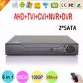 Caja de Metal Xmeye Hi3521a 1080N 16 Canal 16CH 2 SATA vigilancia NVR Híbrido IP HD CVI TVi AHD CCTV DVR DEL Envío gratis