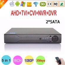 Hi3521A Chip Xmeye Metal Case 1080N 16 Channel 16CH 2 SATA Surveillance Hybrid HD IP TVi CVI NVR AHD CCTV DVR Free shipping
