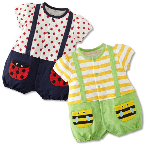 free shipping Wholesale toddlers Kids girls boys Miraculous Ladybug honeybees costumes short sleeve striped rompers
