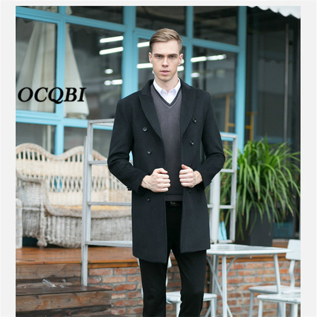 Plus Size 2018 Double Breasted Smart Casual Formal Wool Mens Coats