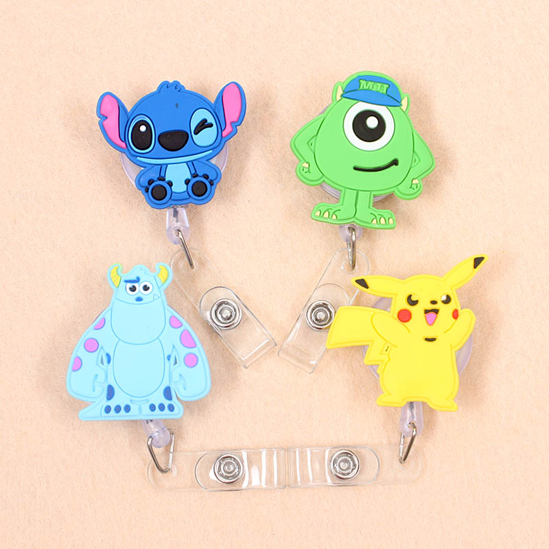 1Pc Stitch Pikachu Retractable Badge Reel High Quality Silicone Student Nurse ID Name Card Badge Holder Office Supplies