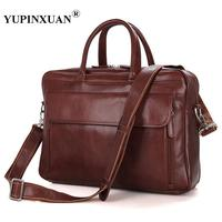 YUPINXUAN Europe Mens Real Leather Travel Bags 15 Laptop Shoulder Bags Large Capacity Briefcase As Gift
