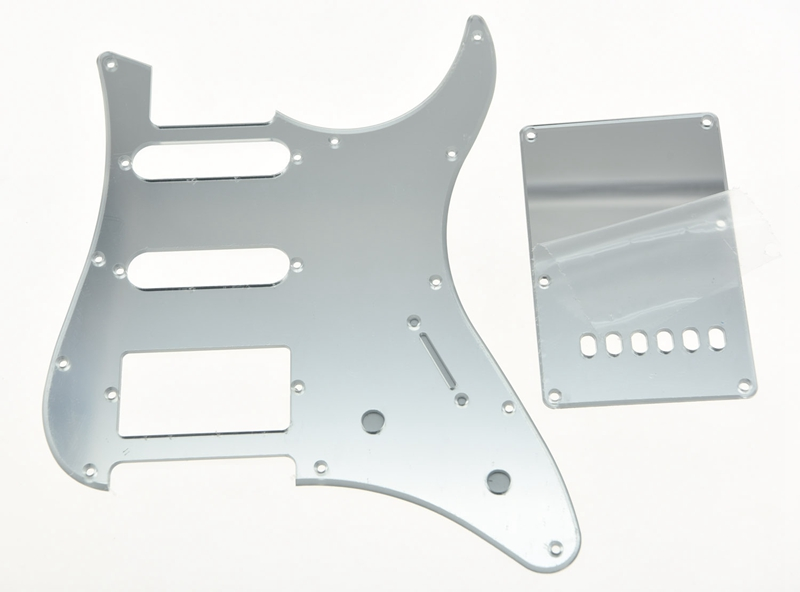 KAISH Silver Mirror Guitar HSS Pickguard Tremolo Trem Cover for Yamaha PACIFICA Guitar musiclily 3ply pvc outline pickguard for fenderstrat st guitar custom