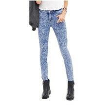 Women Vintage Tie Dye Elastic High Waist Stretch Long Denim Jeans Lady Casual Work Pencil Pants Blue