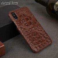 Чехол из натуральной кожи для iPhone X, XR, XS, MAX, 6, 6s, 7, 8 Plus, задняя крышка, Роскошный чехол для телефона Croc head, чехол для iPhone 6, 6s, 7, 8 Plus