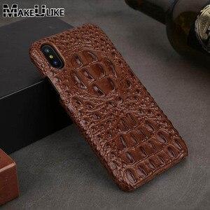Image 2 - Caso de couro genuíno para o iphone 12 11 pro xs max 12 mini 12 12pro 11pro x xr se 2020 6 s 6 s 7 8 plus caso 3d croc cabeça capa