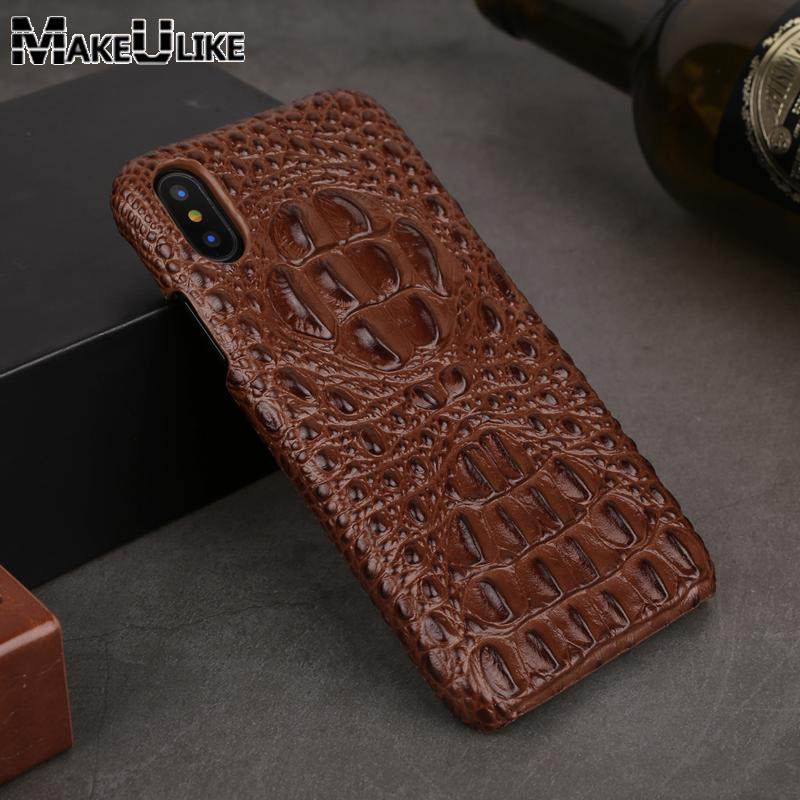 MAKEULIKE Genuine Leather Case For iPhone X Cover iPhone 6 6S 7 8 Plus Back Case Luxury 3D Crocodile head Pattern Phone Case
