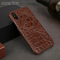 Luxury 3D Back Case For Apple IPhone X Cover Genuine Leather Crocodile Head Phone Bags Cases