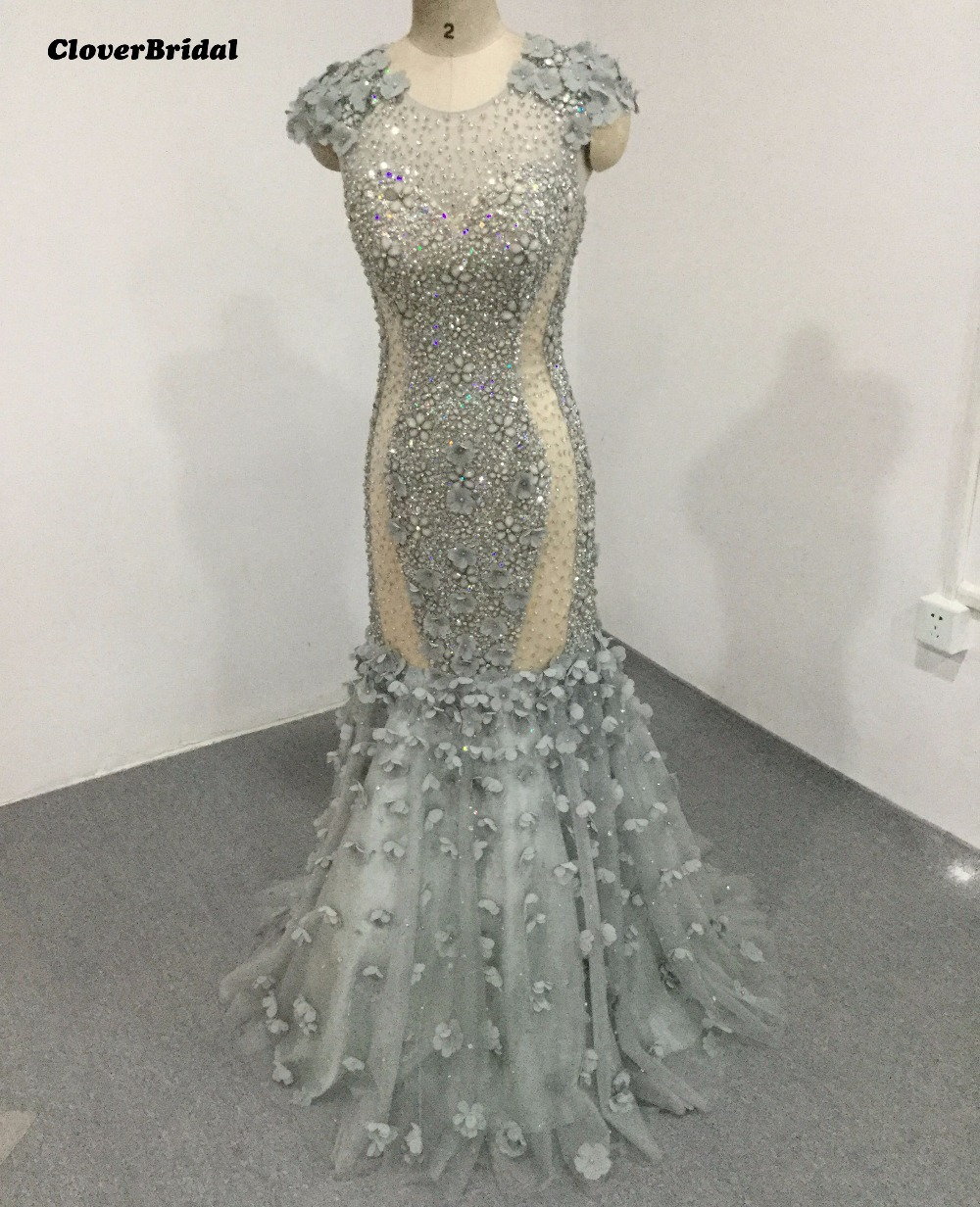 CloverBridal high quality sparkly stones sequins pearls beading grey  mermaid evening dress 2017 floral cap sleeves fa49d3e61