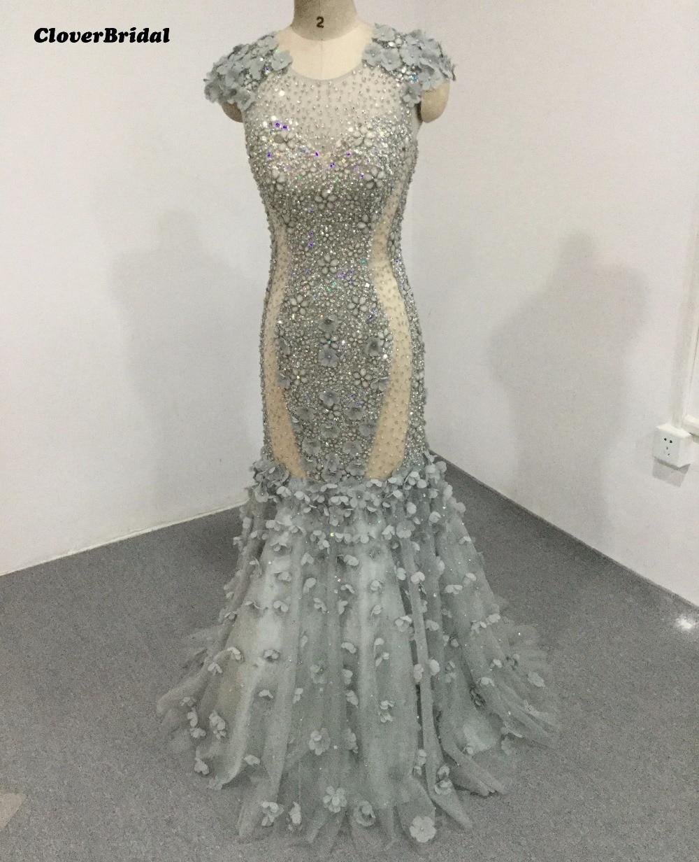 CloverBridal alta qualidade sparkly pedras lantejoulas pérolas cinza  beading sereia vestido de noite 2017 cap floral 26ca3783f5c