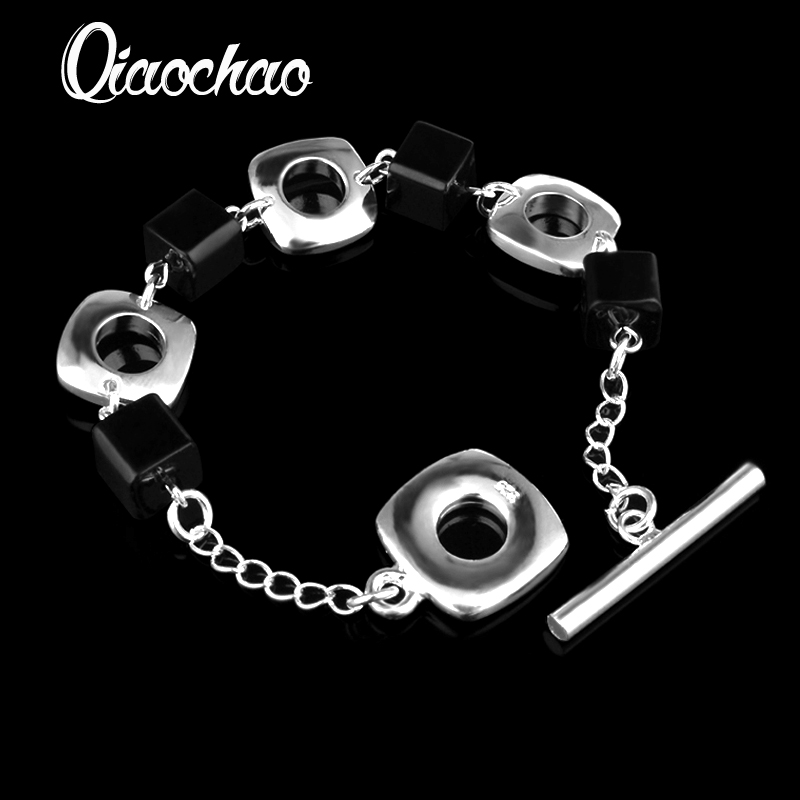 Resplendent square black 925 Silver Bracelet Health Fashion Jewelry For Women Free Jewelry S138