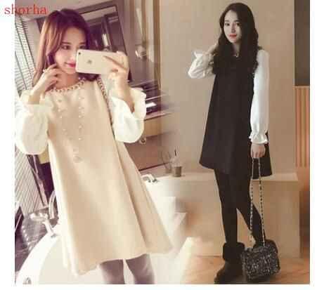b235b35fc9002 Fashion style chiffon sleeve dresses patchwork pregnant women long skirt  loose a-line shirts plus