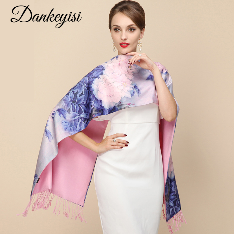 DANKEYISI 2018 Fashion Designer Ladies Big Scarf Kvinnor Märke Wraps Real Double-deck Dicked Brush Höst Vinter Sjal Sjalar