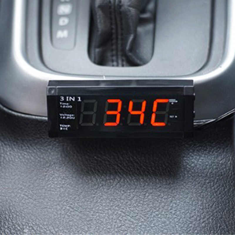 Car Thermometer Luminous Watch Adornment Car Auto Electronic Clock Decoration Interior Accessories Ornaments