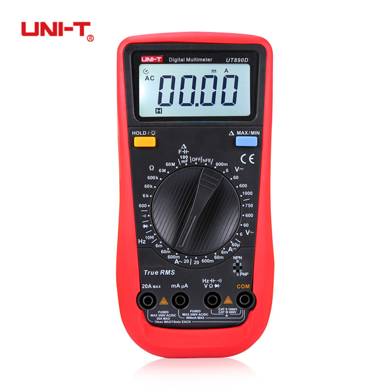 UNI-T UT890D UT890C+ Digital Multimeter True RMS AC/DC Voltmeter Ammeter 6000 Counts Temperature Meter Tester with 2 Probe Meter professional and practical an8001 digital multimeter 6000 counts backlight ac dc ammeter voltmeter ohm portable meter