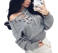 4 Colors Front Lace Up Sweatshirts 2016 Autumn Winter Hoodies Tops Plus Size Women O Neck