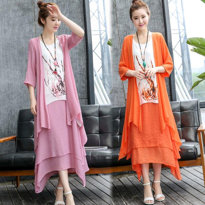Spring Summer Women cotton linen dress+long shirt New outwear cardigan and flowers dress suits sets comfortable top quality 3