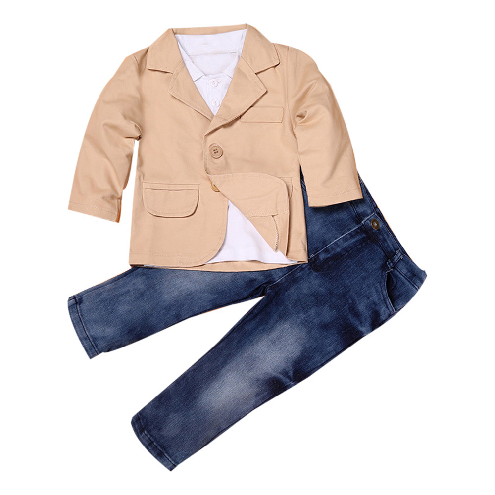 New Handsome 3pcs Kids Baby Boy Gentleman Coat+Long Sleeve Shirt+Jeans Pant Trousers Clothes Outfits Set kids casual sport suits 2015 baby boy set spring fall blue long sleeve t shirt coat pant christmas gift baby boy clothes new designer roupa infanti