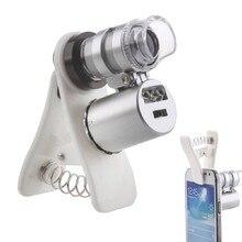 Абсолютно 60X Ручной мини Карманный микроскоп Лупа ювелира Лупа с светодиодный светильник с зажимом Рождественский подарок
